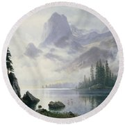 Mountain Out Of The Mist Round Beach Towel