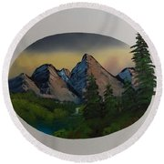 Mountain Oval Round Beach Towel