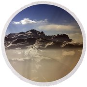 Mountain Panorama And Mist Les Gets Portes Du Soleil Morzine Haute Savoie France Round Beach Towel