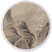 Mountain Path Landscape Ink Painting Round Beach Towel