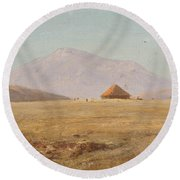 Mountain Plateau With Hut Round Beach Towel