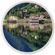 Mountain Reflected In Lake Round Beach Towel