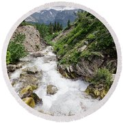 Mountain River Round Beach Towel by Margaret Pitcher