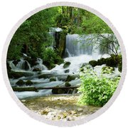 Mountain River Spring Round Beach Towel