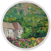 Mountain Scenery In Dale, Sandnes Round Beach Towel
