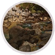 Mountain Stream With Boulders Round Beach Towel