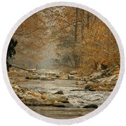 Mountain Stream With Tree Overhang #1 Round Beach Towel