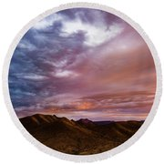 Mountain Sunset In New River Round Beach Towel