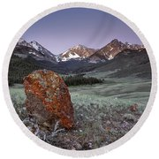 Mountain Textures And Light Round Beach Towel