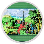 Mountain To Child And Lots Inbetween. Round Beach Towel