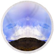 Mountain Tops In Sicily Round Beach Towel
