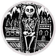 Mountain Town Skeleton Round Beach Towel
