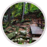 Mountain Trail With Staircase In Autumn Forest Round Beach Towel