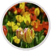 Mountain Tulips Round Beach Towel