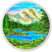 Mountain Valley Round Beach Towel