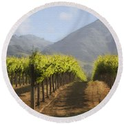 Mountain Vineyard Round Beach Towel