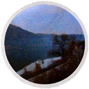 Mountain, Water And Road. Round Beach Towel