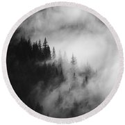 Mountain Whispers Round Beach Towel