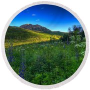 Mountain Wildflowers And Light Whispers Round Beach Towel