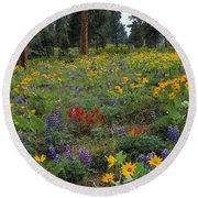 Mountain Wildflowers Round Beach Towel