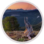 Mountain Wood Formation Round Beach Towel