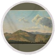 Mountainous Landscape At Vicovaro, Simon Denis Round Beach Towel