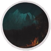 Mountainous Landscape By Moonlight Round Beach Towel