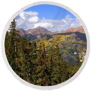Mountains Aglow Round Beach Towel