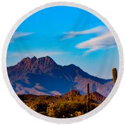 Mountains And Cactus Round Beach Towel