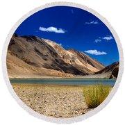 Mountains And Green Vegetation Chagor Tso - Lake Leh Ladakh Jammu Kashmir India Round Beach Towel