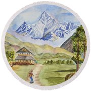 Mountains And Valley Round Beach Towel
