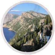 Mountains Around Crater Lake Round Beach Towel