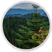 Mountains Around Priest Lake Round Beach Towel