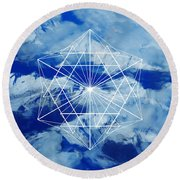Mountains, Clouds And Geometry Round Beach Towel