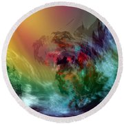 Mountains Crumble To The Sea Round Beach Towel