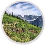 Mountains In Glacier National Park 1 Round Beach Towel