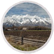 Mountains In Logan Utah Round Beach Towel