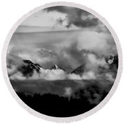 Mountains In The Clouds Round Beach Towel