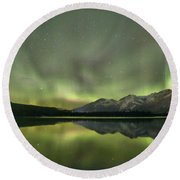 Mountains In The Northern Lights Round Beach Towel