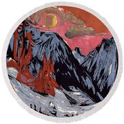 Mountains In Winter Round Beach Towel
