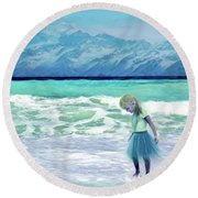 Mountains Ocean With Little Girl  Round Beach Towel