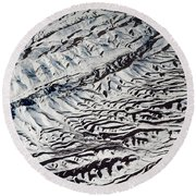 Mountains Patterns. Aerial View Round Beach Towel