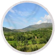 Mountains Sky And Homes In Village Of Swat Valley Khyber Pakhtoonkhwa Pakistan Round Beach Towel