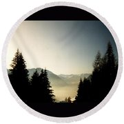 Mountains Through The Trees At Sunrise Round Beach Towel
