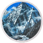 Mountains View Landscape Acrylic Painting Round Beach Towel