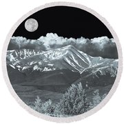 Mountains, When High Enough And Tough Enough, Measure Men.  Round Beach Towel