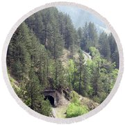 Mountains With Railroad And Tunnels  Round Beach Towel