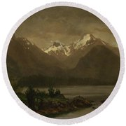 Mountains_and_lake Round Beach Towel