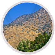 Mountainside From Wealthy Neighborhood Above Santiago-chile Round Beach Towel