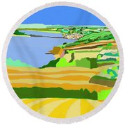 Mounts Bay Cornwall Round Beach Towel